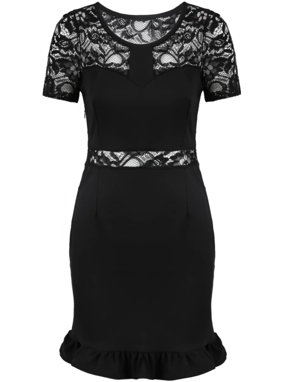 figurbetontes kleid mit spitze-oberteil, schwarz