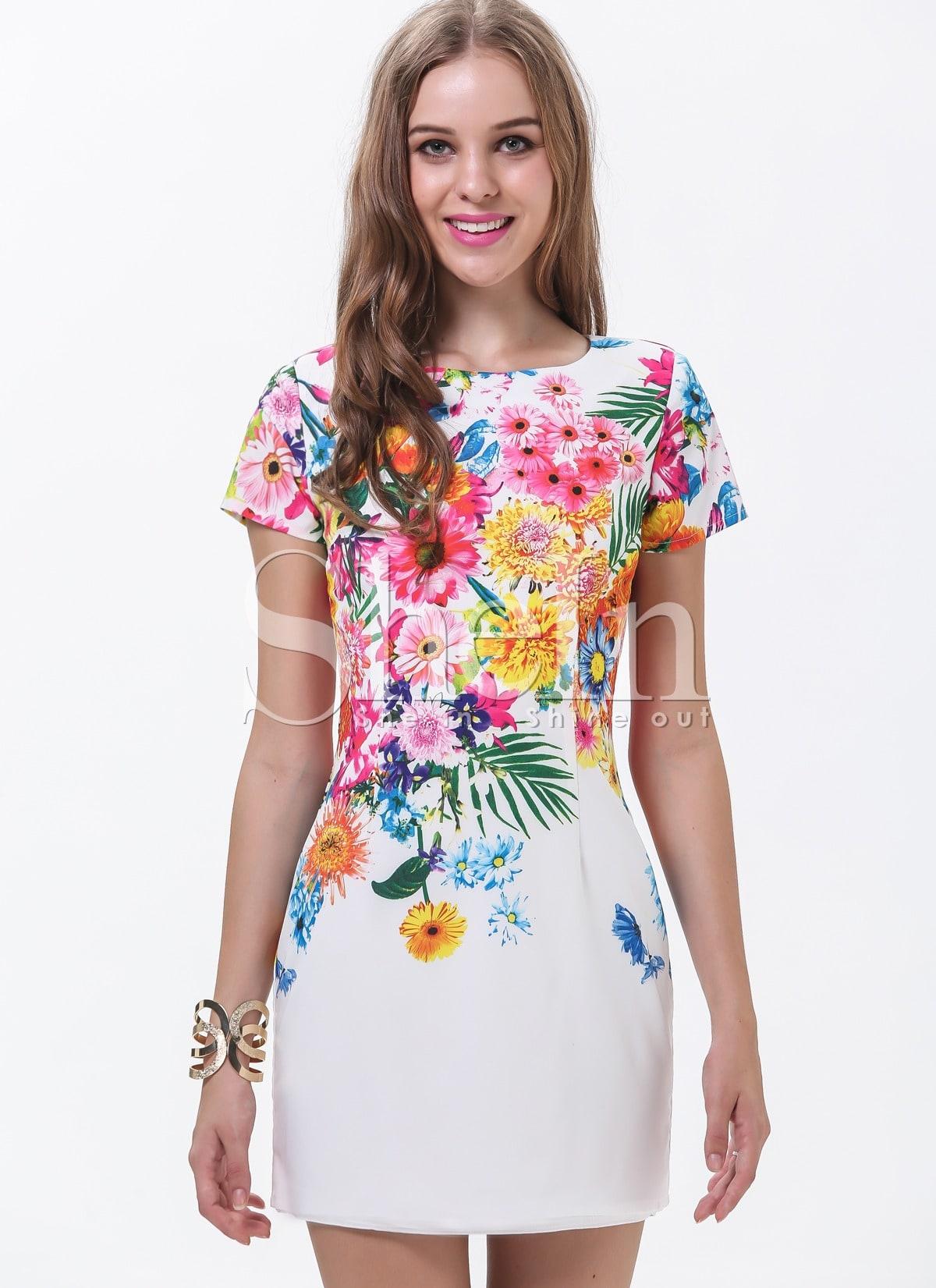531e4529e2 White Short Sleeve Patterned Florals Print Pastel Dress | SHEIN