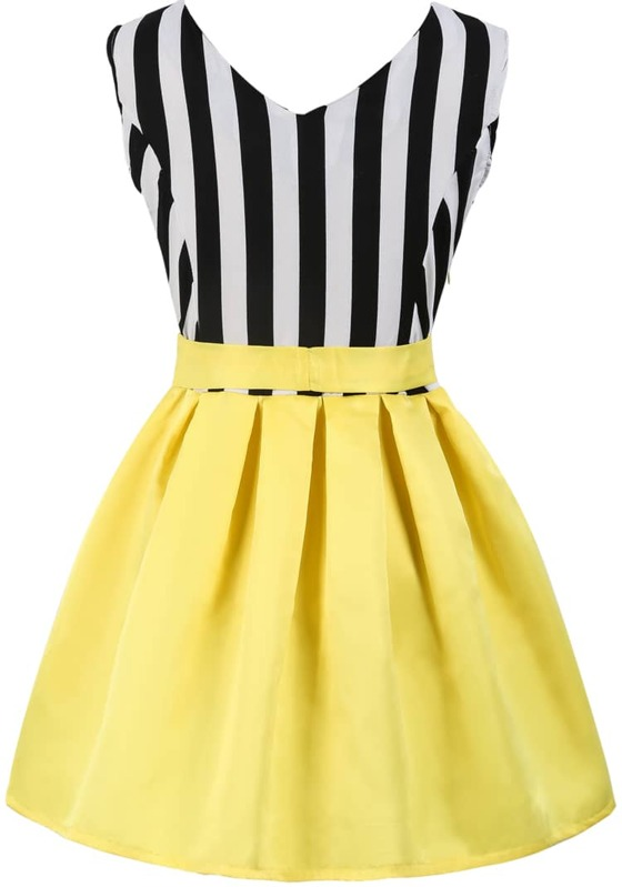 Black White Vertical Stripe Bow Contrast Yellow Dress Sheinsheinside