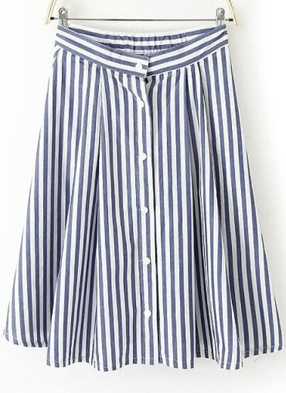 4a2e1a4cc9 Blue and White Vertical Stripe Knee Length Dress | SHEIN