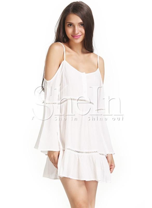 Beige Cold Shoulder Long Sleeve Crochet Insets Tunic Dress Shein