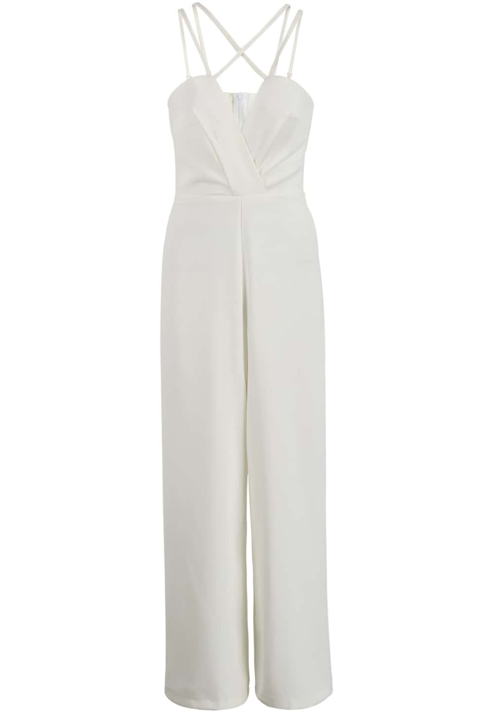 e25202e1300f White Spaghetti Strap Backless Loose Jumpsuit