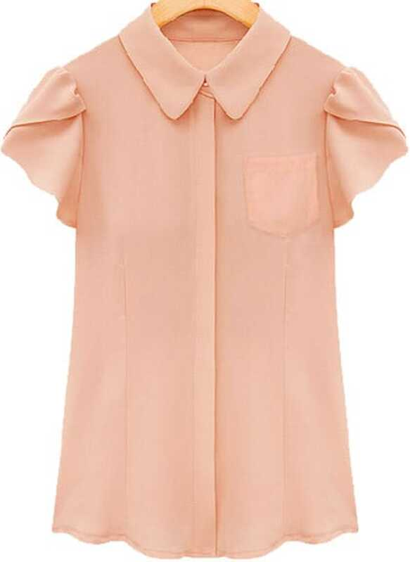 365f7586c6682d Pink Lapel Ruffle Short Sleeve Chiffon Blouse. AddThis Sharing Buttons