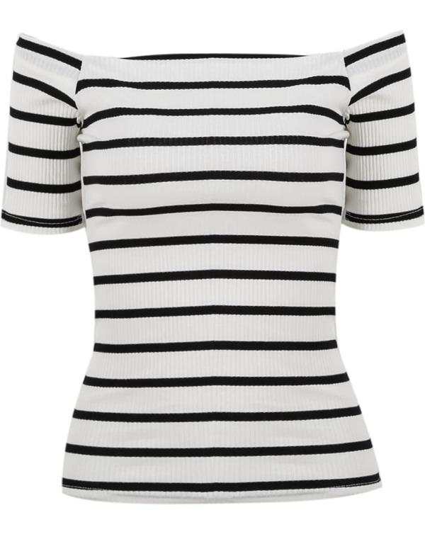 feea64780588b5 White Off The Shoulder Striped T-shirt