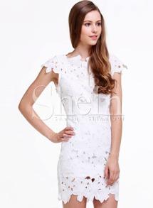 696ce57e323f White Short Sleeve Floral Crochet Bodycon Dress