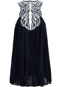 ec87f17bf163a Navy Sleeveless Embroidered Loose Chiffon Dress -SheIn(Sheinside)
