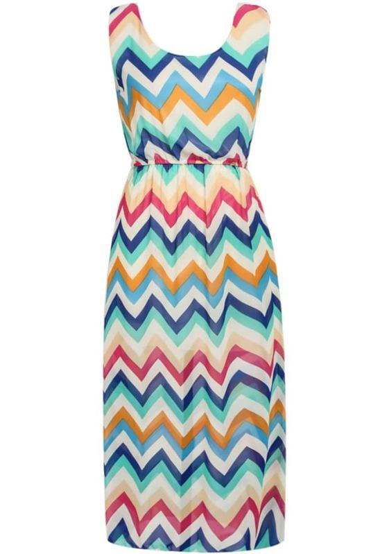 767ffa5d14aad Multicolor Sleeveless Zigzag Striped Chiffon Maxi Dress