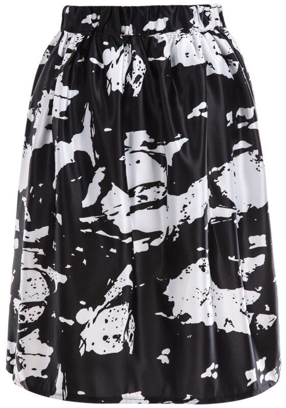f01ace261 White Black Rose Print Pleated Skirt | SHEIN