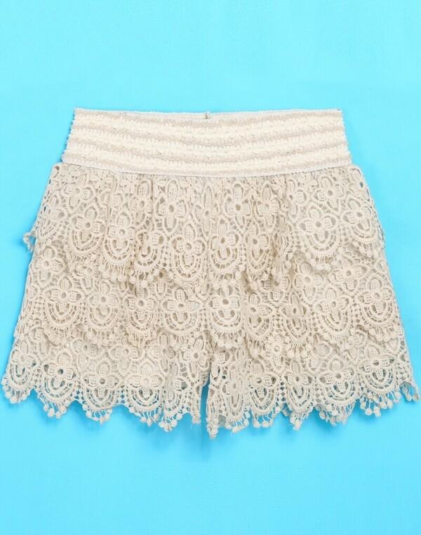 Apricot Floral Crochet Lace Shorts Shein