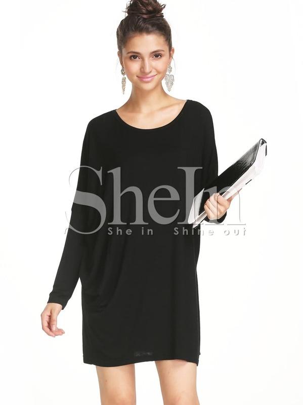 Black Round Neck Long Sleeve Minimalist Simple Classical Loose Dress ...
