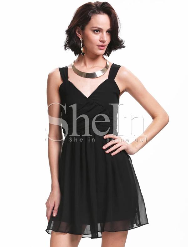 Black Spaghetti Strap Backless Netted Prom Dress Sheinsheinside