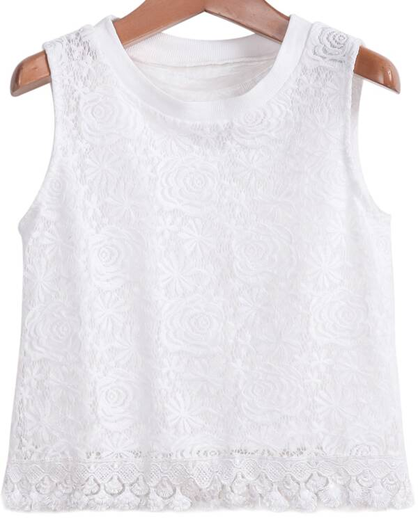 669192259664ad White Sleeveless Embroidered Lace Top -SheIn(Sheinside)