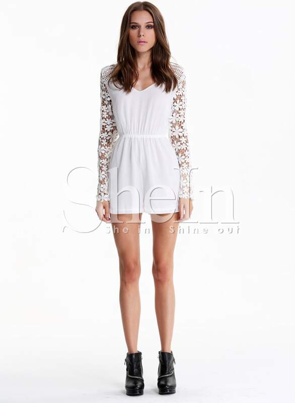 5081a5c0a8 White V Neck Lace Long Sleeve Jumpsuit -SheIn(Sheinside)