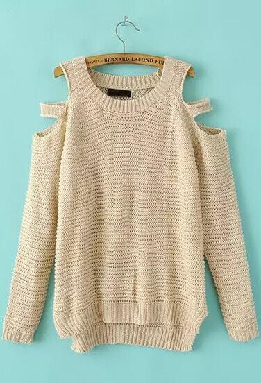 Beige Off The Shoulder Long Sleeve Knit Sweater Sheinsheinside