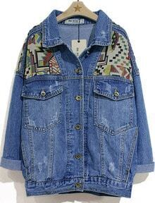 Blue Lapel Long Sleeve Geometric Pattern Denim Jacket