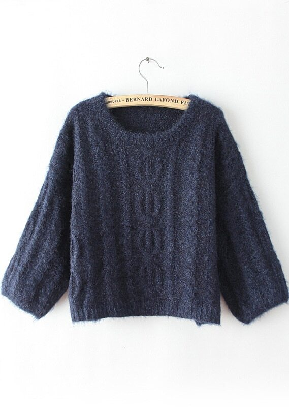 d40a43924a Navy Long Sleeve Loose Cable Knit Sweater -SheIn(Sheinside)