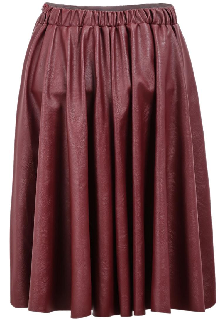 82ff2e71b Red Elastic Waist Pleated Leather Skirt | SHEIN UK