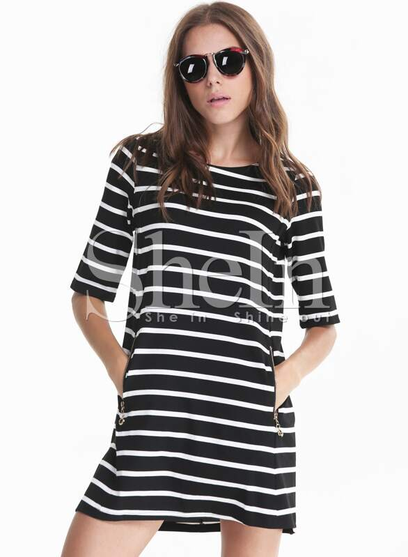 Black White Monochrome Half Sleeve Striped Pockets Dress Shein