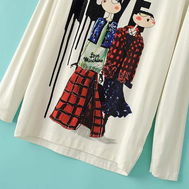 T Shirts Cartoon Characters : White long sleeve cartoon characters print t shirt shein