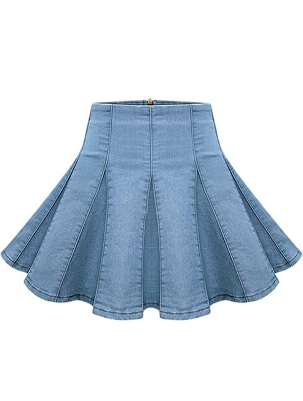 09b4026e82bb Cheap Blue Pleated Flare Denim Skirt for sale Australia   SHEIN