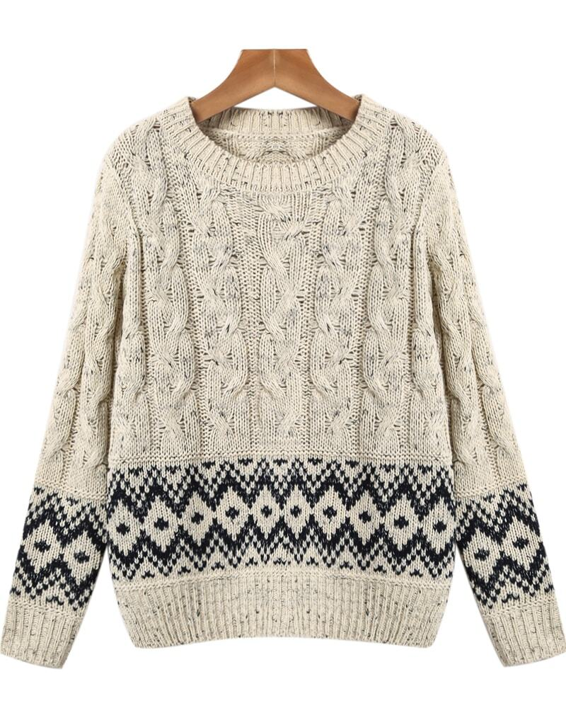 Apricot Long Sleeve Geometric Pattern Cable Knit Sweater -SheIn ...