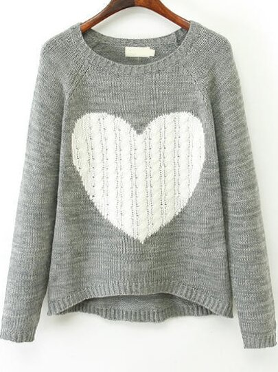 5bcdb01ab1d6 Grey Long Sleeve Heart Print Knit Sweater