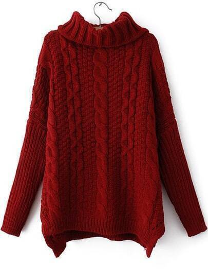 Red High Neck Long Sleeve Cable Knit Sweater Sheinsheinside