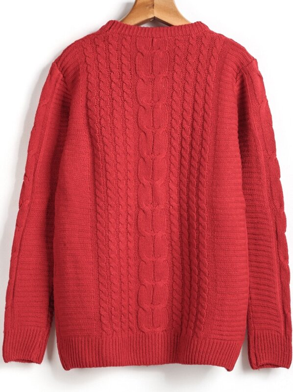 Red Long Sleeve Cable Knit Sweater -SheIn(Sheinside) 4db2b19fb