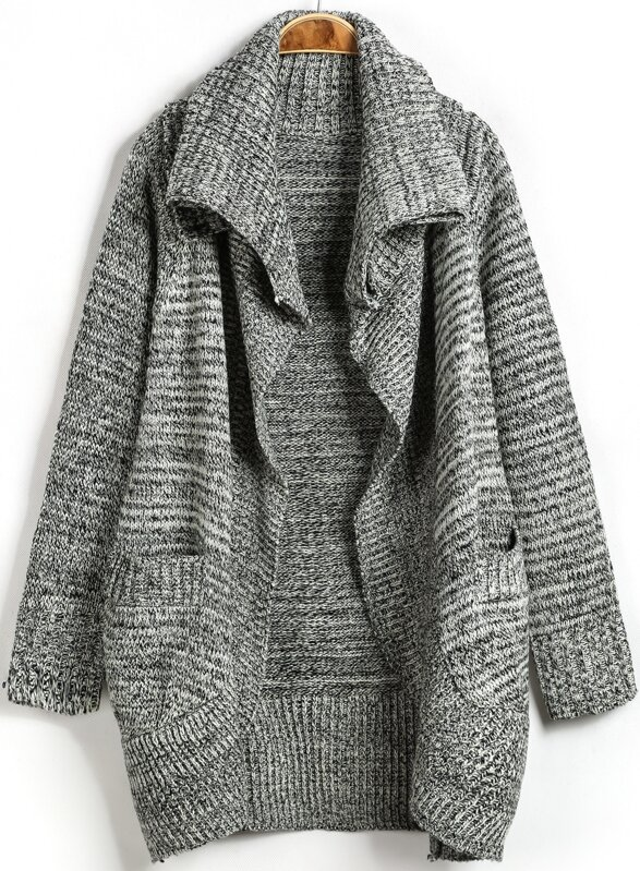 Grey Lapel Long Sleeve Pockets Knit Cardigan -SheIn(Sheinside) 1356e83b5