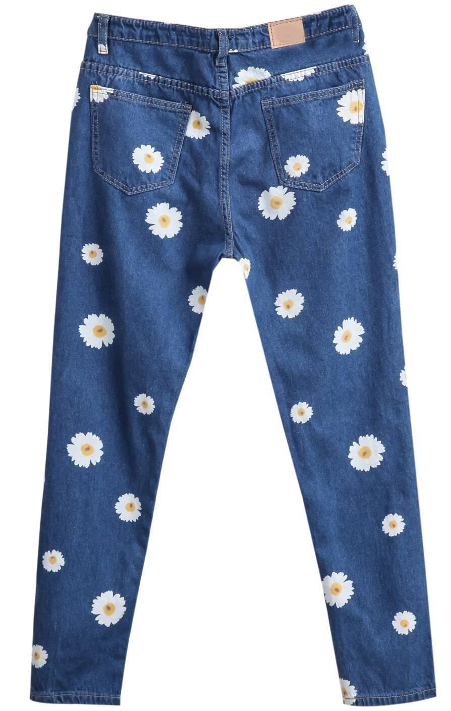 pantalon en jean motif marguerite avec poches french shein. Black Bedroom Furniture Sets. Home Design Ideas