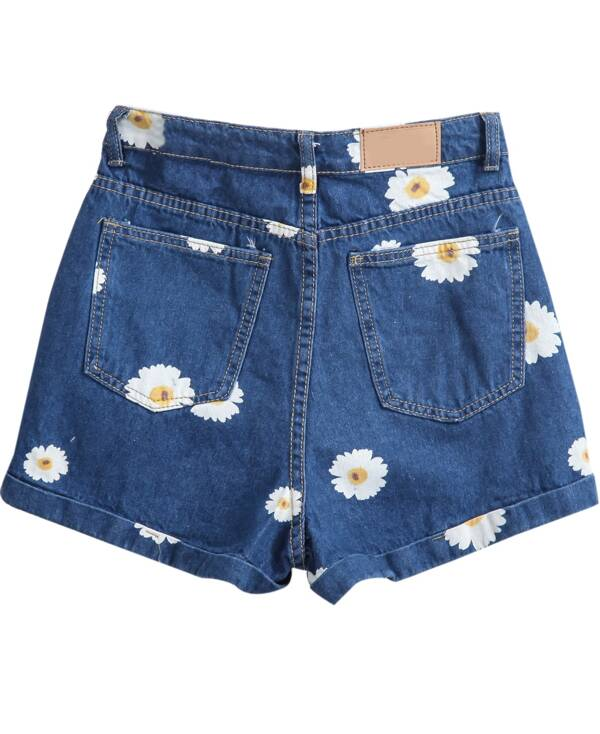 e3291c0352 Navy Pockets Daisy Print Denim Shorts. AddThis Sharing Buttons