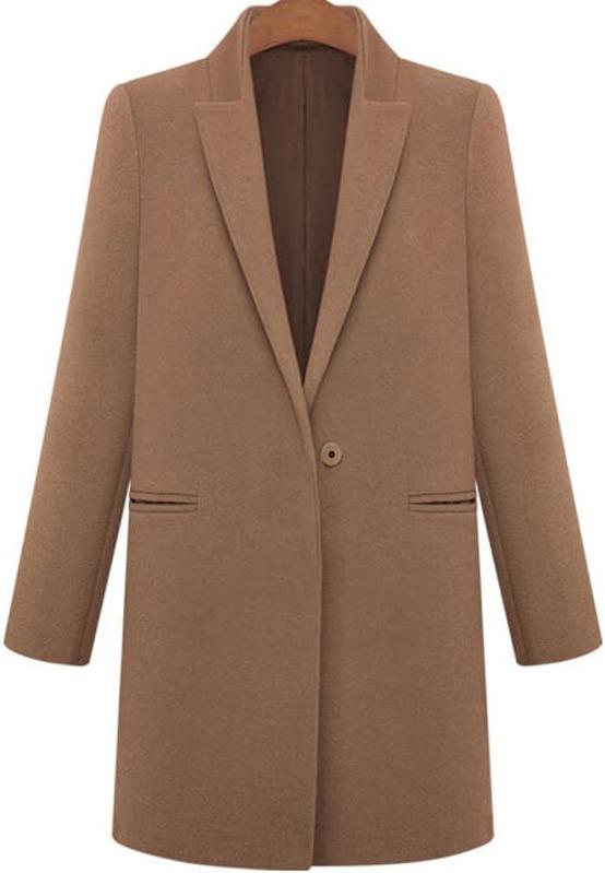 Abrigo de lana solapa bolsillos café