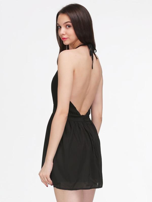 0cc59cd708f0b فستان نحيف أسود الرسن بلا أكمام عارية الذراعين