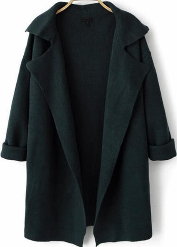 759d52b6ab Navy Lapel Long Sleeve Loose Knit Cardigan -SheIn(Sheinside)