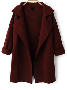 Wine Red Lapel Long Sleeve Loose Knit Coat