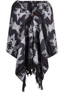 Black and Grey Geometric Tassel Hem Hood Cape