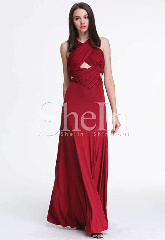 78689b34b13 Wine Red Backless Maxi Dress