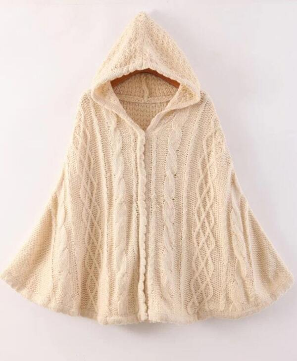 bb65c54cfaf259 Apricot Hooded Cable Knit Cape Sweater -SHEIN(SHEINSIDE)