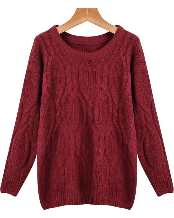 Wine Red Long Sleeve Loose Cable Knit Sweater Sheinsheinside