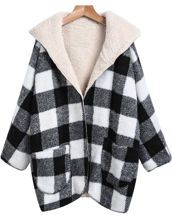 eac6539c5b Black White Hooded Plaid Woolen Coat. AddThis Sharing Buttons