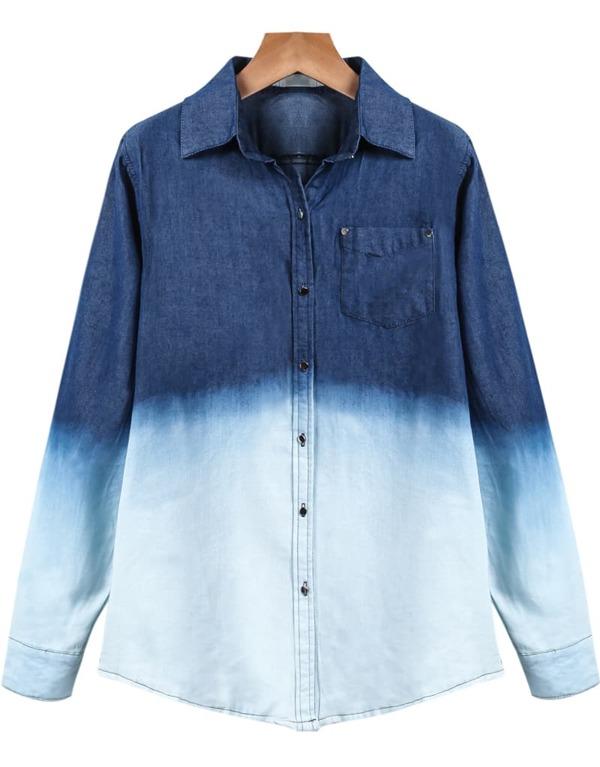 2c7abbfc54d Blue White Lapel Long Sleeve Ombre Denim Blouse