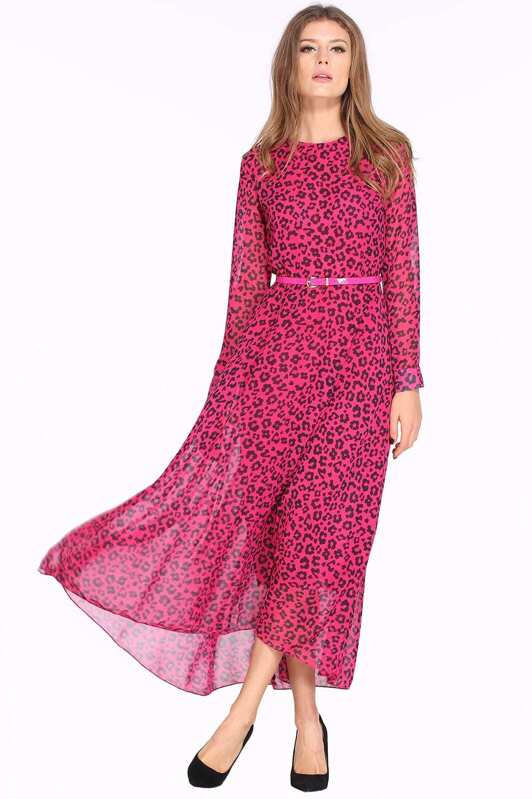 33da6bc071 Rose Red Long Sleeve Leopard Maxi Dress. AddThis Sharing Buttons