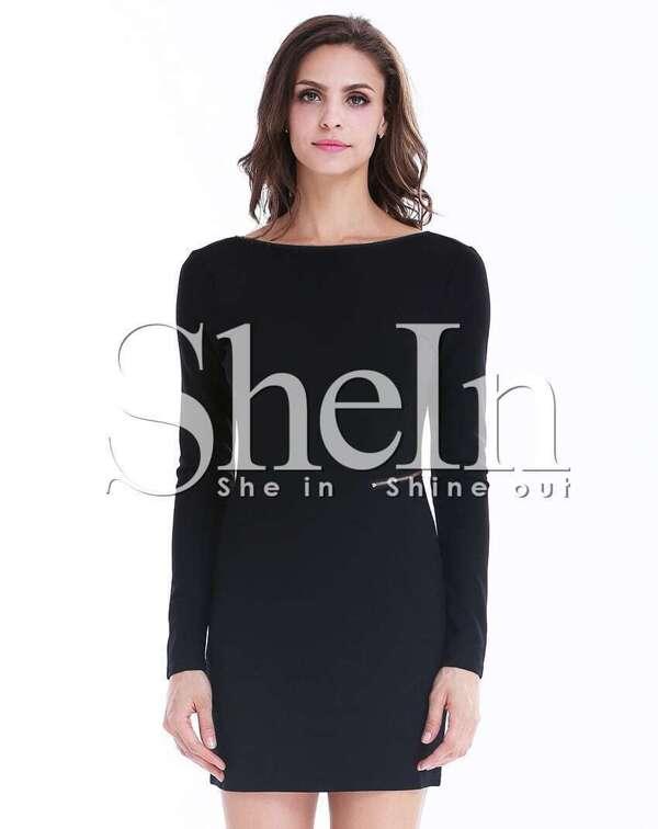 Black Long Sleeve Zipper Backless Bodycon Dress Sheinsheinside