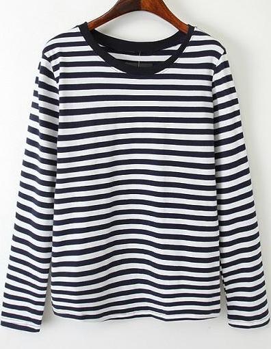 la compra auténtico precios baratass liquidación de venta caliente Camiseta rayas manga larga-blanco y negro