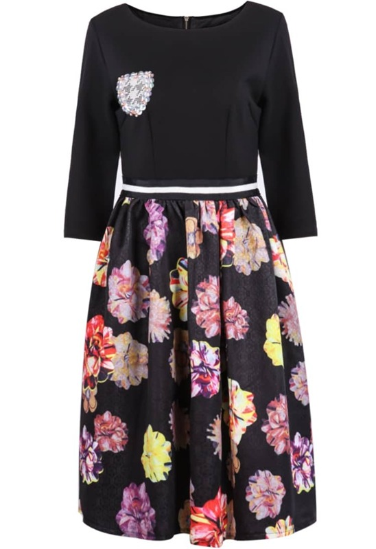 63c5d49769 Cheap Black Long Sleeve Badge Floral Dress for sale Australia | SHEIN