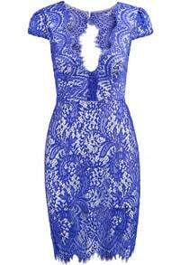 Blue Deep V Neck Short Sleeve Lace Dress