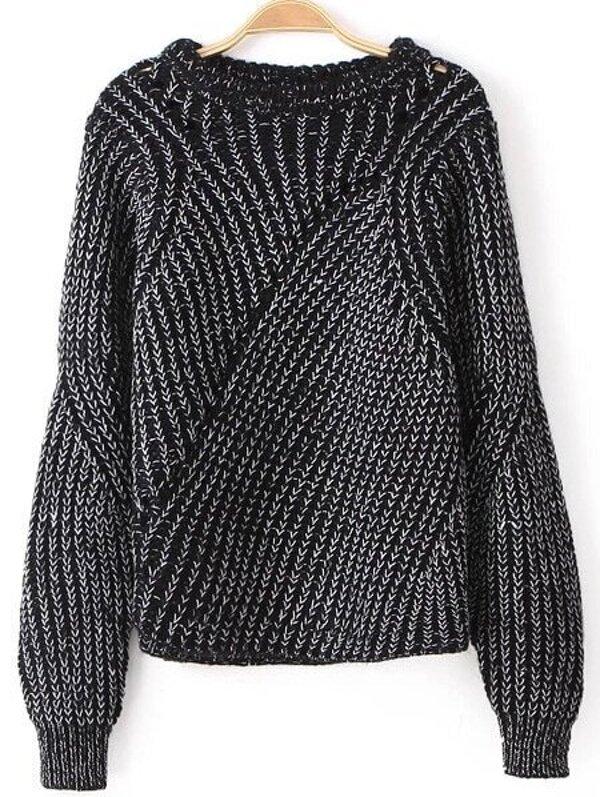 Black Long Sleeve Hollow Knit Loose Sweater -SHEIN(SHEINSIDE) a385dc255