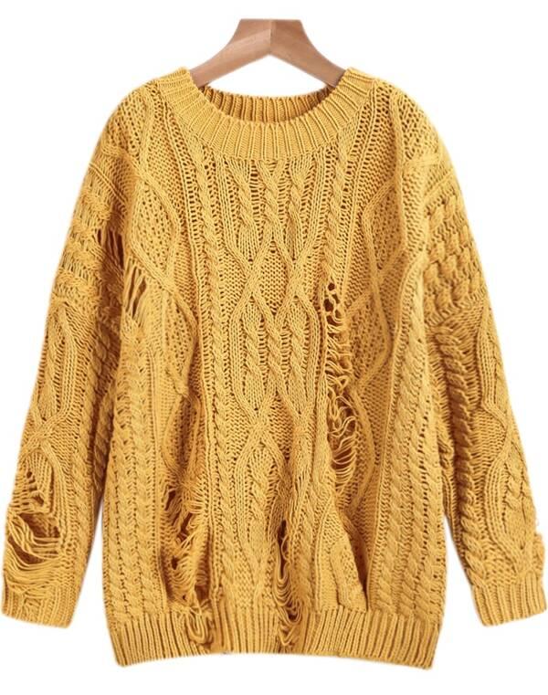 жёлтый рваный вязаный косами свитер Shein