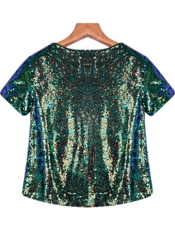 2a3fbaeeca79e Green Short Sleeve Sequined Eye Print Blouse