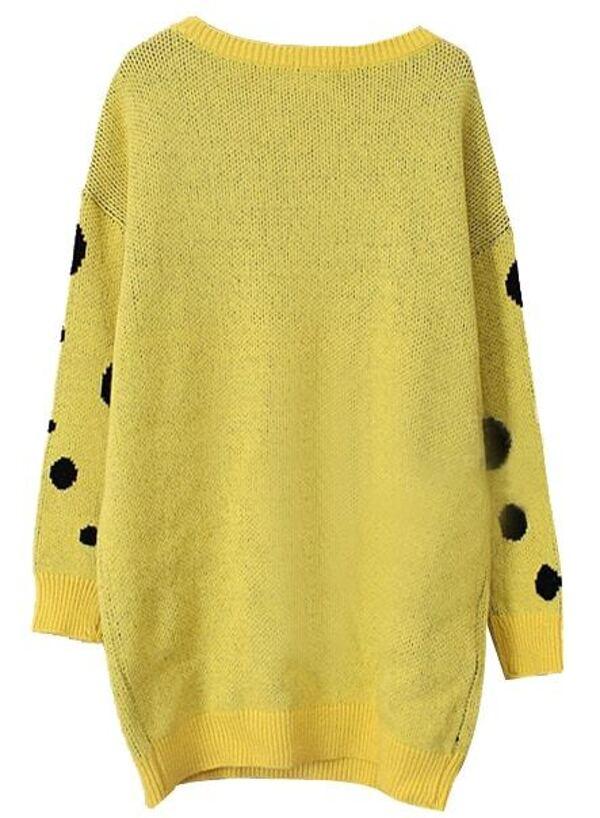 Yellow Long Sleeve SpongeBob Print Knit Sweater -SheIn(Sheinside)